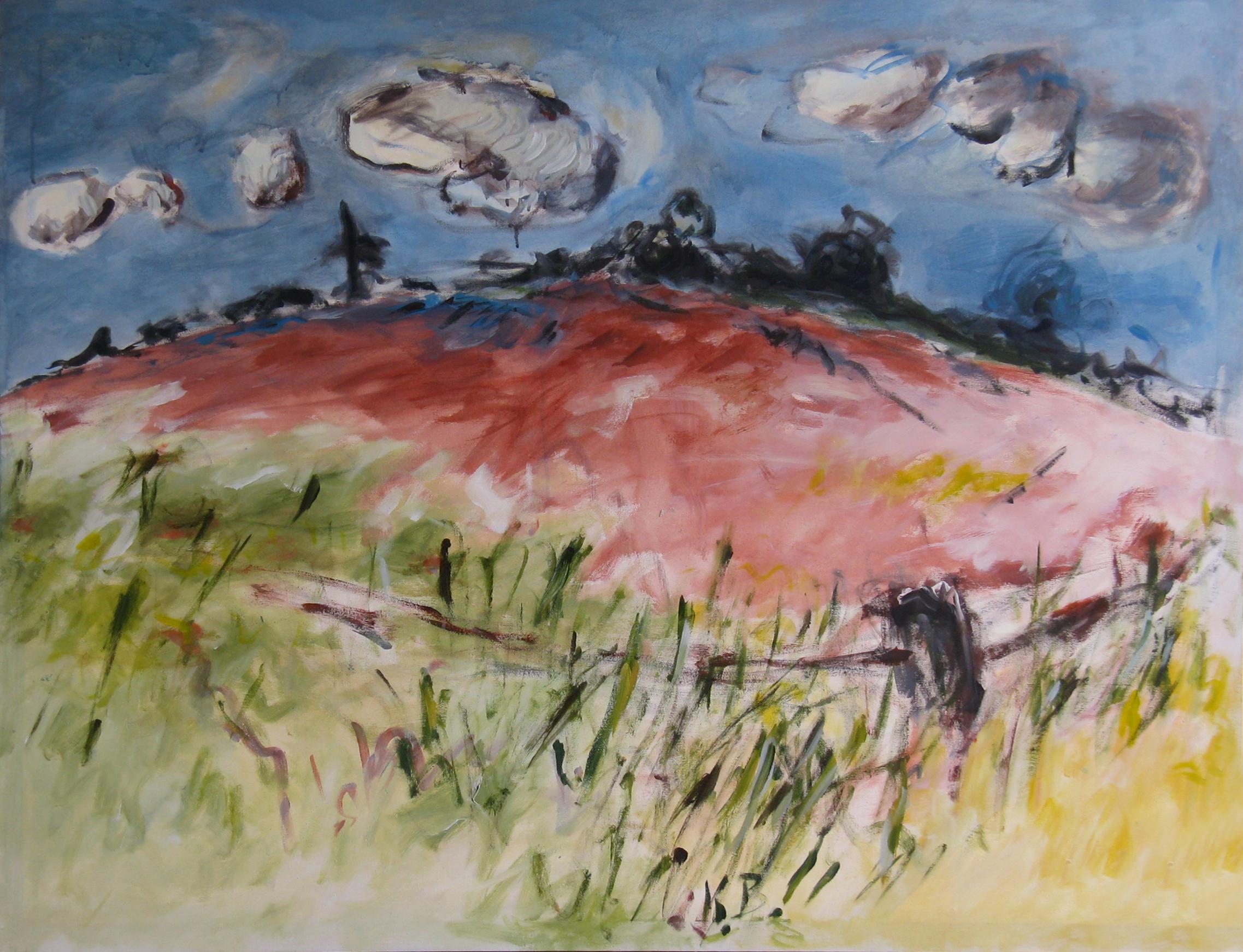 """Klaus Berghaus """"Hügellandschaft"""" 107 x 140,  Acryl  auf Baumw."""