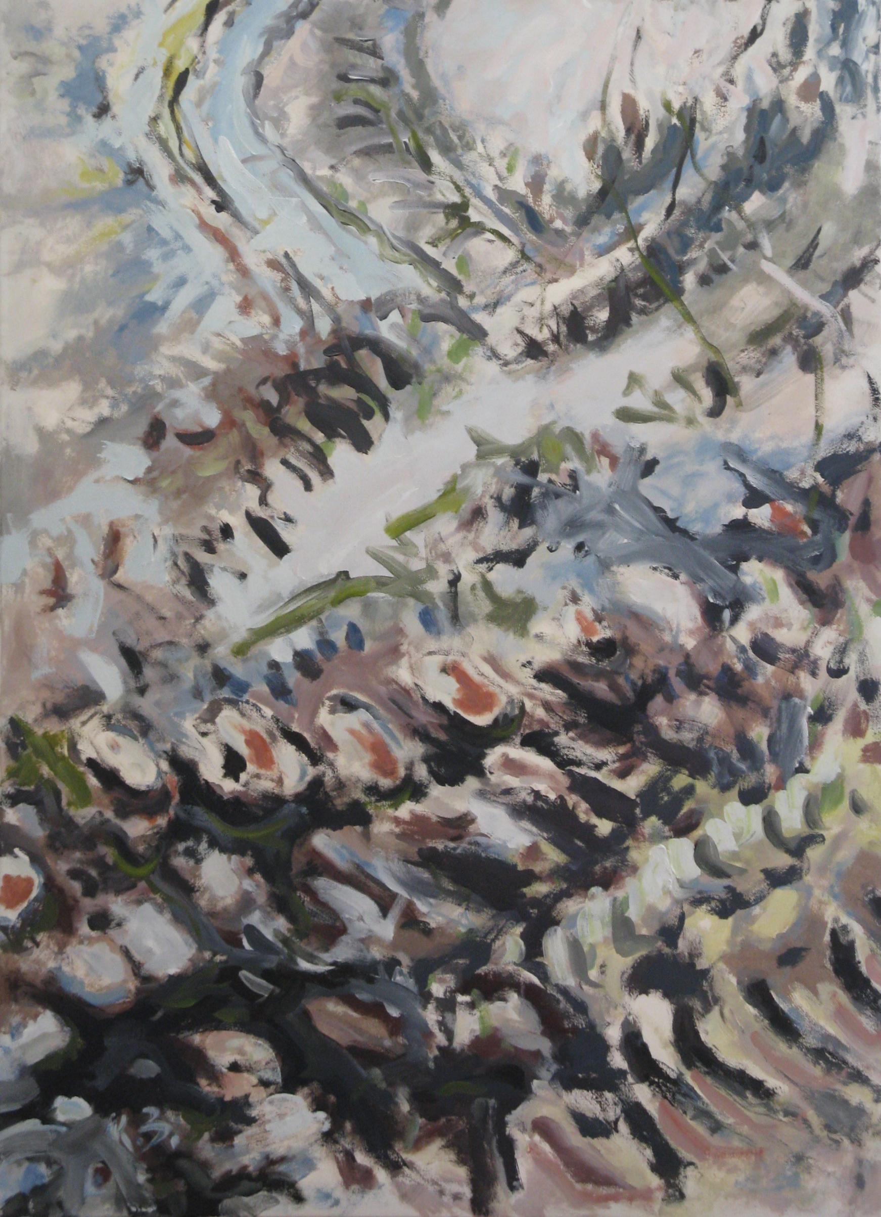 """Klaus Berghaus """"Spuren""""  100 x 120,  Acryl  auf  Baumw.,  unverk."""
