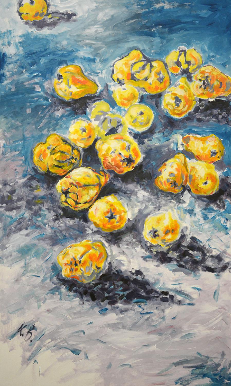 """Klaus Berghaus """"Quitten""""  90  x  170 ,  Acryl auf  Baumw"""