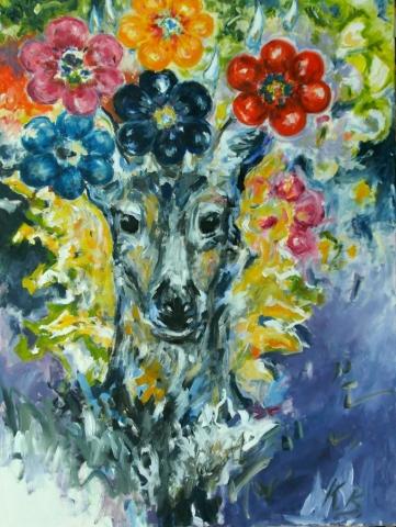 """KB_""""Blumenrausch"""" 90 x 120, Acryl  auf Baumw."""