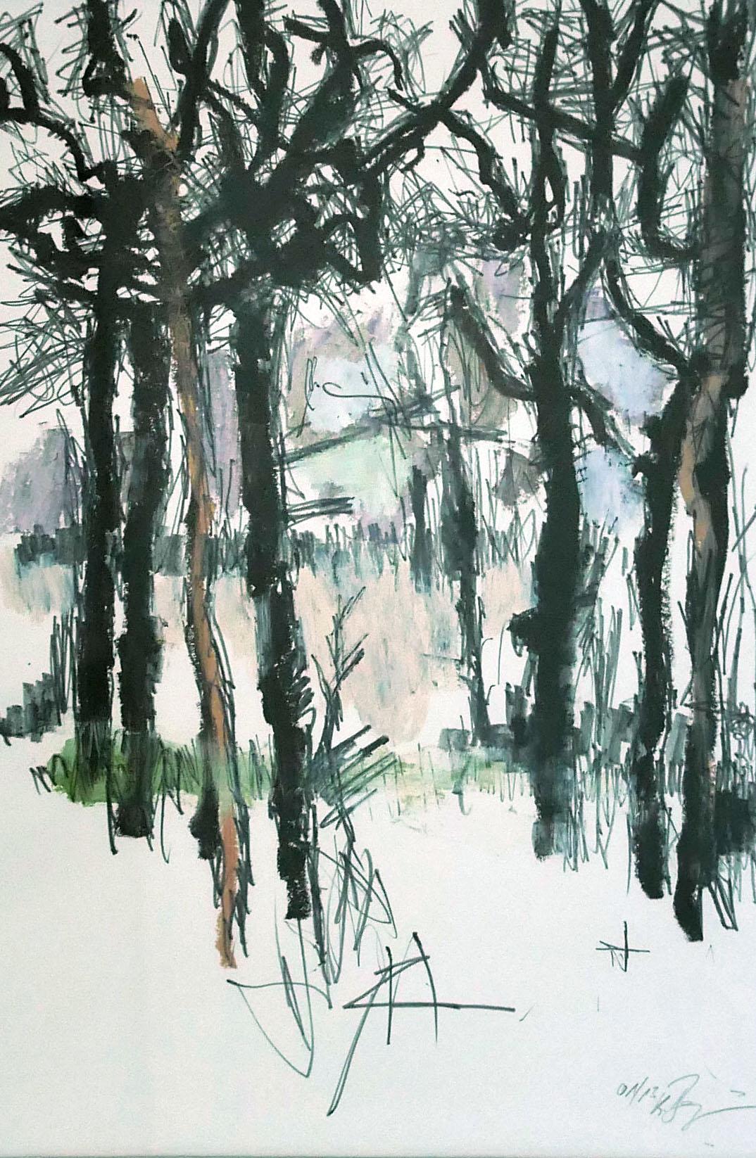 """Klaus Berghaus """"Bäume II"""" 40 x 50,  Mischtechnik"""