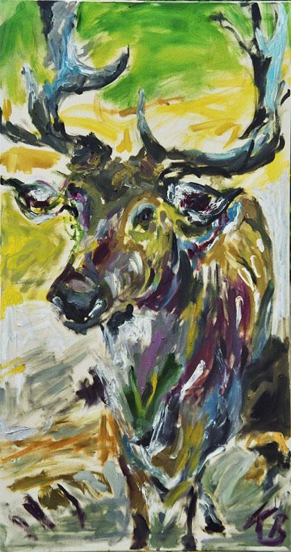 """Klaus Berghaus_""""Damwild II"""" 70 x 130,  Öl auf Baumw., verkauft"""
