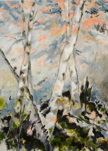 """Klaus Berghaus """"Birken"""" 90 x 120, Acryl auf Baumw."""