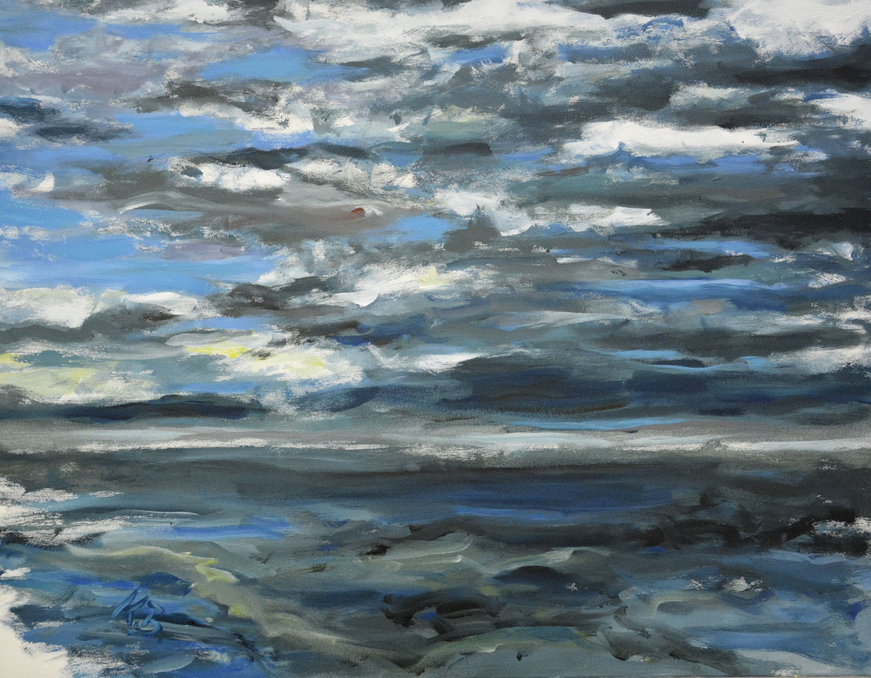"""Klaus Berghaus """"Watt und Meer I"""" 80 x 90,  Acryl auf Baumw."""