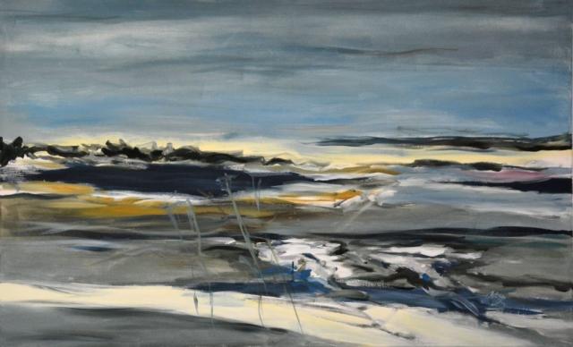 """Klaus Berghaus """"Watt und Meer II"""" 90 x 140, Acryl auf Baumw."""