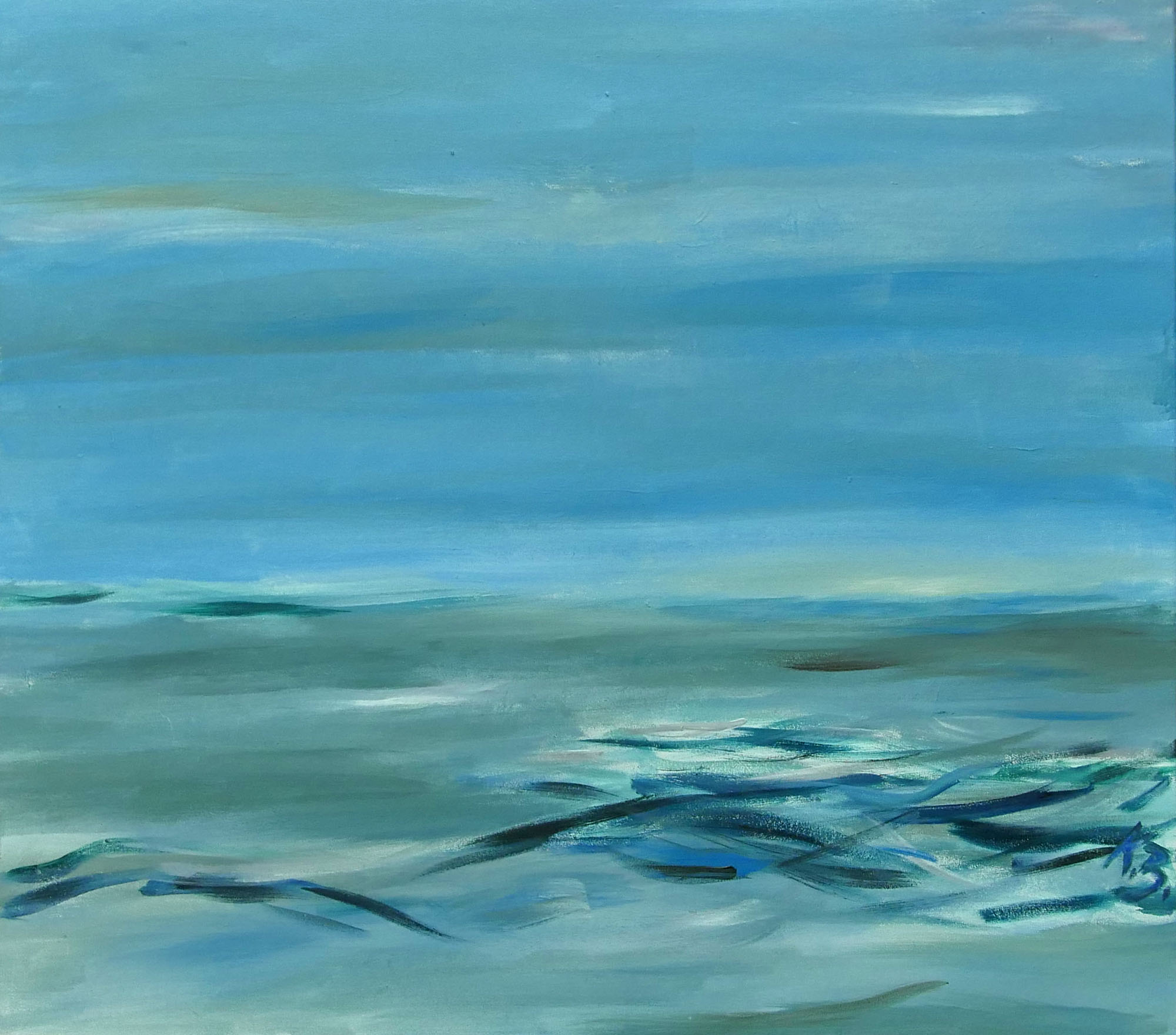 """Klaus Berghaus """"Watt und  Meer""""  80 x 90, Acryl  auf Baumw."""