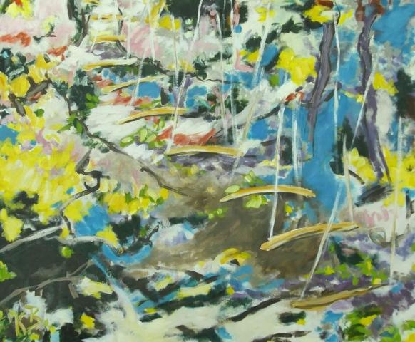 """Klaus Berghaus-""""Himmelleiter""""   100 x 140,  Acryl  auf  Baumw."""
